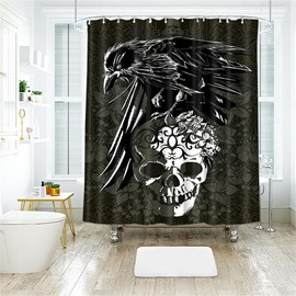 Creative Style Skull Pattern Monster Pattern Polyester Anti-Bacterial Shower Curtain