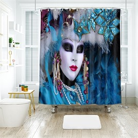 Mask Pattern Halloween Pattern Polyester Anti-Bacterial Shower Curtain
