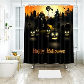 Cartoon Pumpkin And Letters Pattern Polyester Anti-Bacterial Shower Curtain