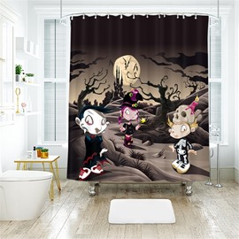 Three Cartoon Figures Halloween Pattern Polyester Anti-Bacterial Shower Curtain