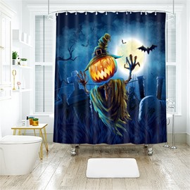Fly Pumpkin Halloween Pattern Polyester Anti-Bacterial Shower Curtain