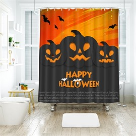 Cartoon Pumpkin And Letters Halloween Pattern Polyester Anti-Bacterial Shower Curtain