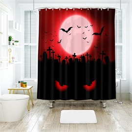 Cartoon Bat Halloween Scene Pattern Polyester Anti-Bacterial Shower Curtain