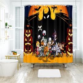 Cartoon Halloween Scene Pattern Polyester Anti-Bacterial Shower Curtain