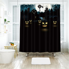 Black Pumpkin Pattern Polyester Anti-Bacterial Shower Curtain