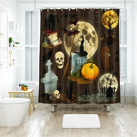 Horrific Halloween Scene Pattern Polyester Anti-Bacterial Shower Curtain