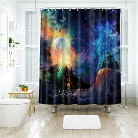 Beautiful Halloween Scene Pattern Polyester Anti-Bacterial Shower Curtain