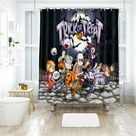 Cartoon Monster And Letter Pattern Polyester Anti-Bacterial Shower Curtain
