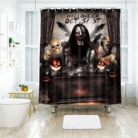 Monster Halloween Scene Pattern Polyester Anti-Bacterial Shower Curtain