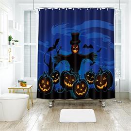 Scarecrow Pumpkin Halloween Scene Pattern Polyester Anti-Bacterial Shower Curtain
