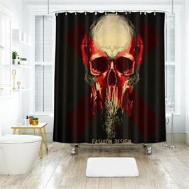 Blood Color Horrific Skull Halloween Scene Pattern Polyester Anti-Bacterial Shower Curtain