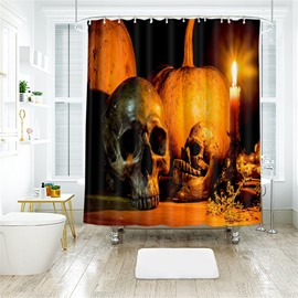 Creative Skull Halloween Scene Pattern Polyester Anti-Bacterial Shower Curtain