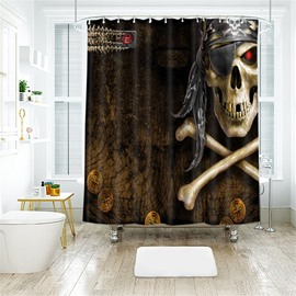 Skull Halloween Scene Pattern Polyester Anti-Bacterial Shower Curtain