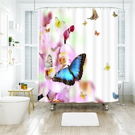 3D Vivid Butterfly Printed Polyester Bathroom Shower Curtain