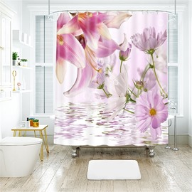 3D Pink Flower Printed Polyester Bathroom Shower Curtain