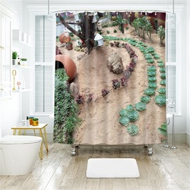 3D Cute Plant Printed Polyester Bathroom Shower Curtain