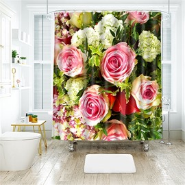 3D Peony Printed Polyester Bathroom Shower Curtain