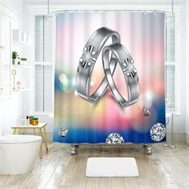 Diamond Ring 3D Printed Polyester Bathroom Shower Curtain