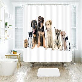 Cute Dogs 3D Printed Polyester Bathroom Shower Curtain