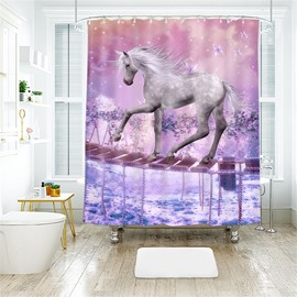 White Horse 3D Printed Polyester Bathroom Shower Curtain