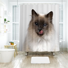 Cute Cat 3D Printed Polyester Bathroom Shower Curtain