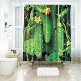 Cucumber 3D Printed Polyester Bathroom Shower Curtain