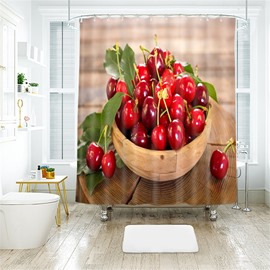 Cherry 3D Printed Polyester Bathroom Shower Curtain