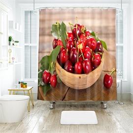 Cherry 3D Printed Polyester Bathroom Shower Curtain