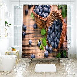 Blueberry 3D Printed Polyester Bathroom Shower Curtain