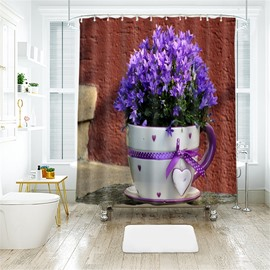 3D Purple Vase Printed Polyester Bathroom Shower Curtain