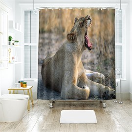 3D Roaring Leopard Printed Polyester Bathroom Shower Curtain