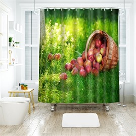 3D A Basket Of Apples Printed Polyester Bathroom Shower Curtain