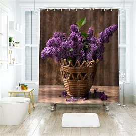 3D Purple Lavender Printed Polyester Bathroom Shower Curtain