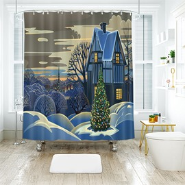 Special Taste Christmas Tree Heavy Gouache Paintings Bathroom Shower Curtain