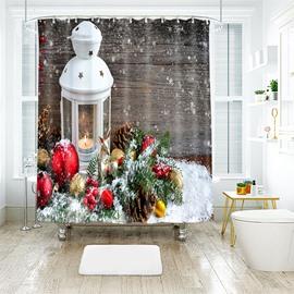 Snowflakes Fluttering White Christmas Lantern Bathroom Shower Curtain