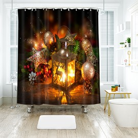 Exquisite Christmas Bright Lantern Bathroom Shower Curtain