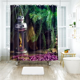 Fresh Green Christmas Tree and Lantern Bathroom Shower Curtain