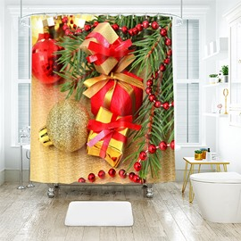 Delicate Christmas Balls and Gifts Bathroom Shower Curtain