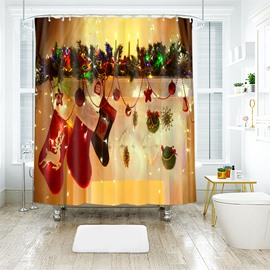 Hanging Christmas Stockings and Ornaments Bathroom Shower Curtain