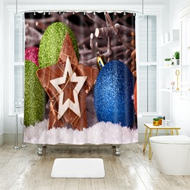 Christmas Balls and Five-pointed Star Bathroom Shower Curtain