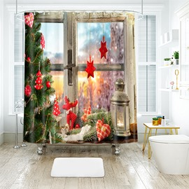 Christmas Ornaments by the Window Bathroom Shower Curtain