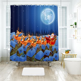 Santa and Reindeers Fly over House Tops Bathroom Shower Curtain