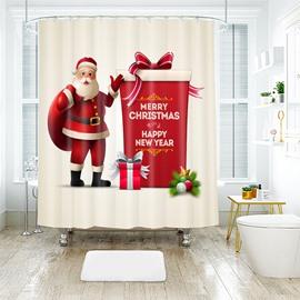 Lifelike Santa Claus with Big Gift Box Bathroom Shower Curtain