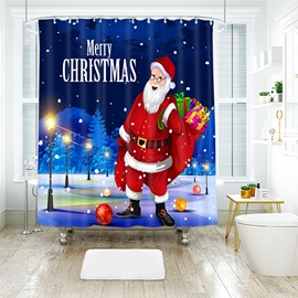 Santa Claus with a Large Parcel of Gifts Bathroom Shower Curtain