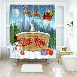 Cute Cartoon Style Merry Christmas Bathroom Shower Curtain