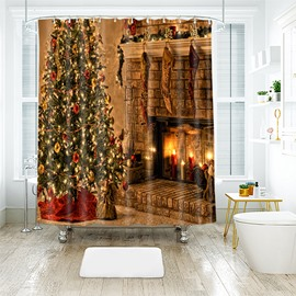 Warm Feeling Fireplace and Christmas Tree Bathroom Shower Curtain