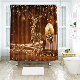 Magnificent Glittering Standing Golden Reindeer Bathroom Shower Curtain
