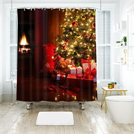 Flashing Christmas Tree and Bear Gifts Bathroom Shower Curtain