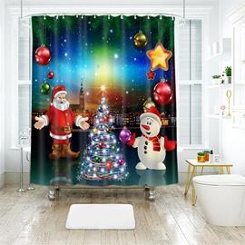 Santa Claus and Snowman Magic Showing Bathroom Shower Curtain
