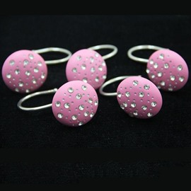 Beautiful Pink Diamond Image Shower Curtain Hooks